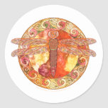 Hot Celtic Dragonfly Classic Round Sticker