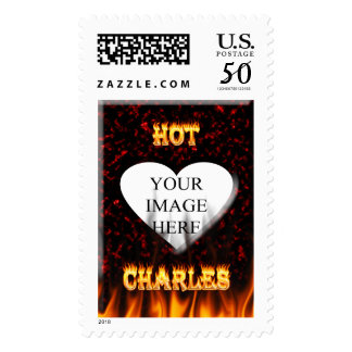 Hot Charles fire and flames red marble. Postage