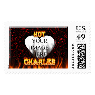 Hot Charles fire and flames red marble. Postage Stamp
