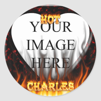 Hot Charles fire and red marble Round Sticker