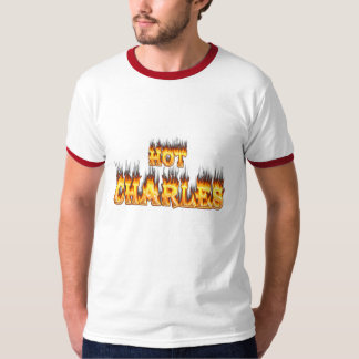 Hot Charles fire and red marble T-Shirt