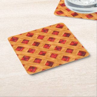 Hot Cherry Pie Square Paper Coaster