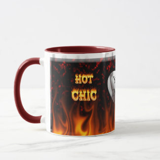 Hot Chic fire and red marble heart. Mug