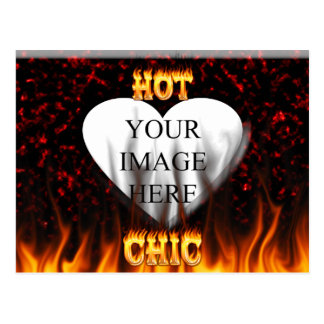 Hot Chic fire and red marble heart. Postcard