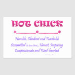 hot chick rectangular sticker