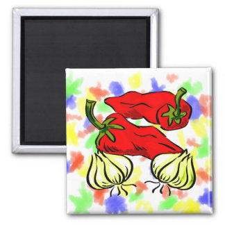 Hot Chili Pepper and Onion Graphic 2 Inch Square Magnet