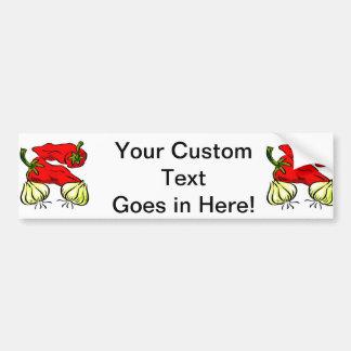 Hot Chili Pepper and Onion Graphic Car Bumper Sticker