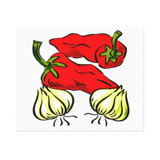 Hot Chili Pepper and Onion Graphic Canvas Print