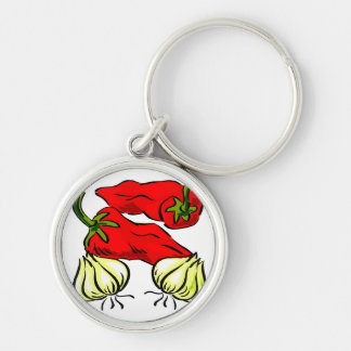 Hot Chili Pepper and Onion Graphic Silver-Colored Round Keychain