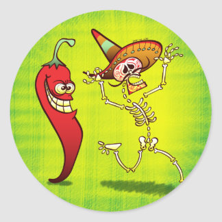 Hot Chili Pepper Nightmare for a Mexican Skeleton Classic Round Sticker
