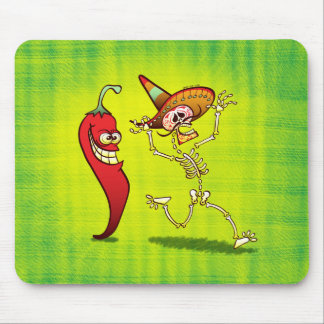 Hot Chili Pepper Nightmare for a Mexican Skeleton Mouse Pad