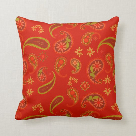 Hot Chili Red Paisley Throw Pillow