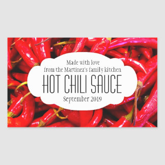 Hot chili sauce or chili food label sticker
