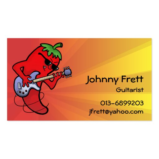 Hot Chilli Guitarist Double-Sided Standard Business Cards (Pack Of 100)