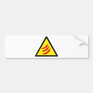 Hot Chilli Pepper Three Warning Sign Bumper Sticker