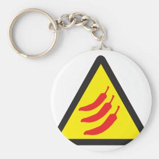Hot Chilli Pepper Three Warning Sign Keychain