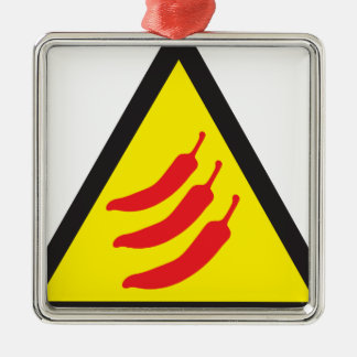 Hot Chilli Pepper Three Warning Sign Metal Ornament