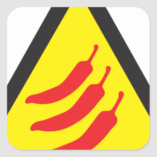Hot Chilli Pepper Three Warning Sign Square Sticker