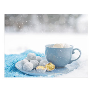 Hot Chocolate and Marshmallows Snow Photo Postcard