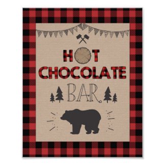 Hot chocolate Bar Sign Lumberjack Cocoa table sign