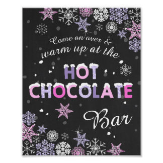 Hot Chocolate Bar Sign Pink Purple snowflakes