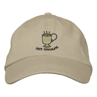 Hot chocolate (black outline) embroidered baseball cap