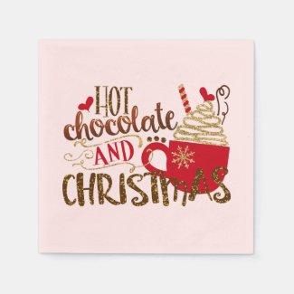 Hot Chocolate & Christmas Holiday Glitter Sparkle Napkins