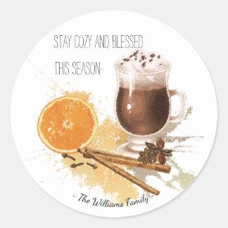 Hot Chocolate Cinnamon Orange Season Greetings Classic Round Sticker