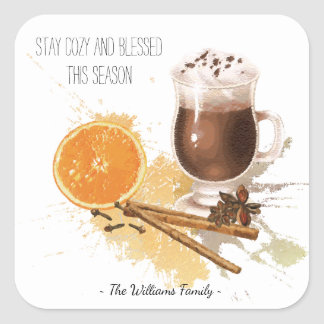 Hot Chocolate Cinnamon Orange Season Greetings Square Sticker