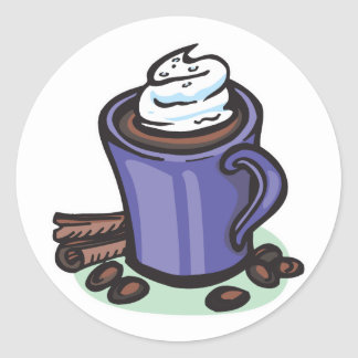 hot chocolate cocoa round stickers