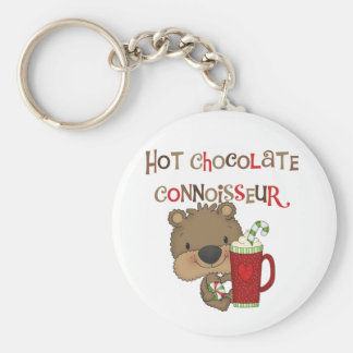 Hot Chocolate Connoisseur Boy Bear Basic Round Button Keychain