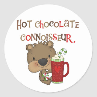 Hot Chocolate Connoisseur Boy Bear Classic Round Sticker