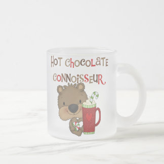 Hot Chocolate Connoisseur Boy Bear Frosted Glass Coffee Mug