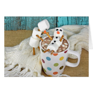 Hot chocolate drink with snowmen card