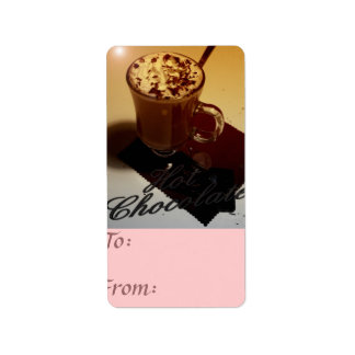 hot chocolate gift tag address label