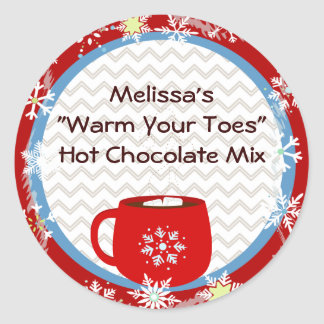 Hot Chocolate Gift Tag Classic Round Sticker