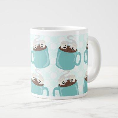 Hot Chocolate Happiness Pattern Jumbo Mugs