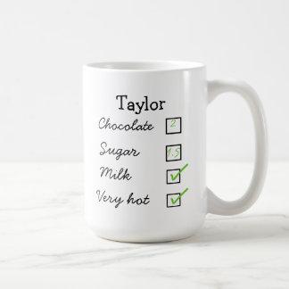 Hot chocolate / hot cocoa personal preference mug