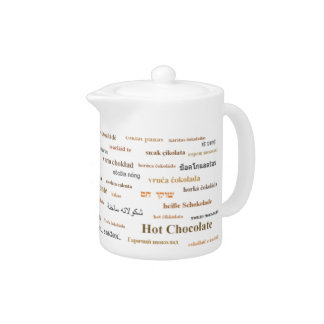 Hot chocolate in many languages teapot - Brown