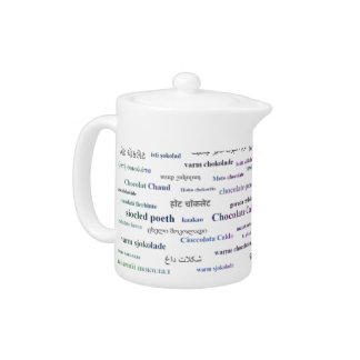 Hot chocolate in other languages teapot - Tricolor