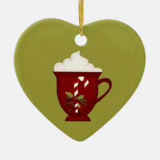 Hot Chocolate Lover Red with Green Ceramic Ornament