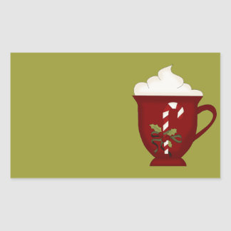 Hot Chocolate Lover Red with Green Rectangular Sticker