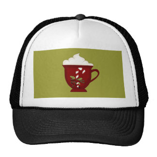 Hot Chocolate Lover Red with Green Trucker Hats