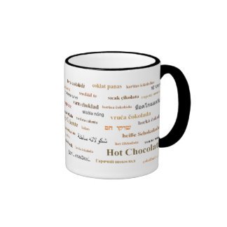 Hot Chocolate Mug in different languages ( brown)
