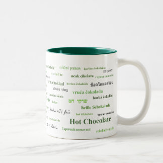 Hot Chocolate Mug in different languages (green)