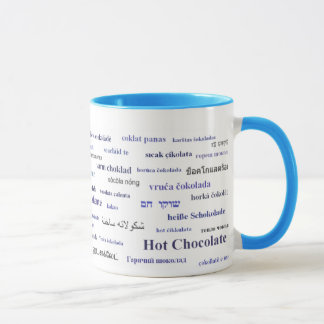 Hot Chocolate Mug in different languages (in navy)