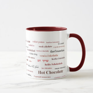 Hot Chocolate Mug in different languages (in red)