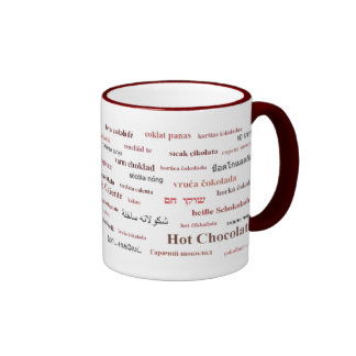 Hot Chocolate Mug in different languages (red)