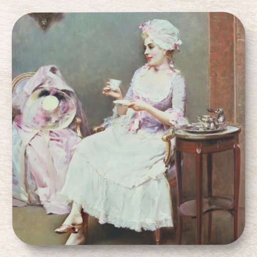 Hot Chocolate (oil on canvas) Beverage Coaster