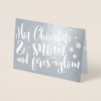 Hot Chocolate & Snow Rhyme Typography Design Foil Card